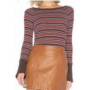 free people donna stripped rib-knit tee dark red